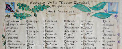 Pergamena originale del 1933 con i 40 soci fondatori